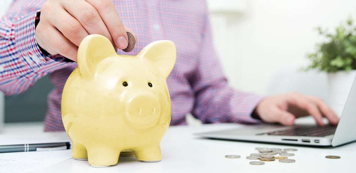 Geld wird in Sparschwein gesteckt
